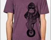 Monkey on a Unicycle Bicycle Bike Unisex T Shirt  Animal Print Mens Womens American Apparel Tshirt xs, s, m, l, xl 9 COLORS