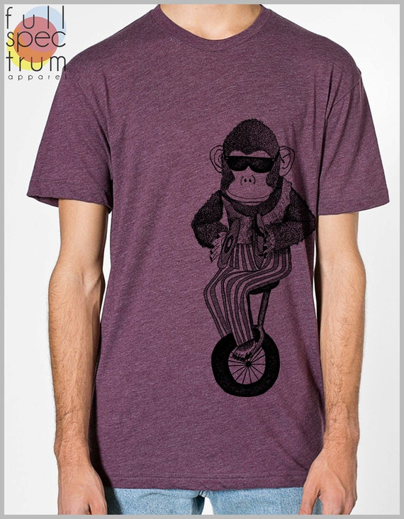 Monkey on a Unicycle Bicycle Bike Unisex T Shirt  Animal Print Mens Womens American Apparel Tshirt xs, s, m, l, xl 9 COLORS