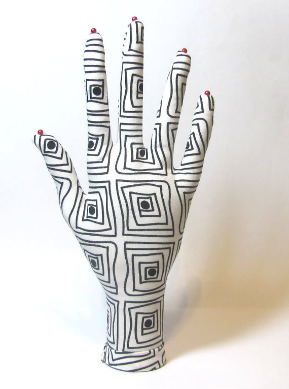 Op Art Square Black & White Fabric HAND-Stand Jewelry Display Ready to Ship