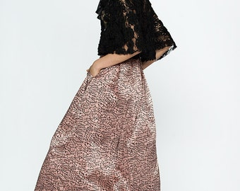 Mauve Pink and Black Silk Skirt