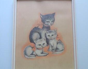 Vintage Glittery Cat Framed Art 1970s