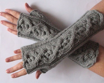 "Fingerless Gloves Gray 11"" wrist warmers"