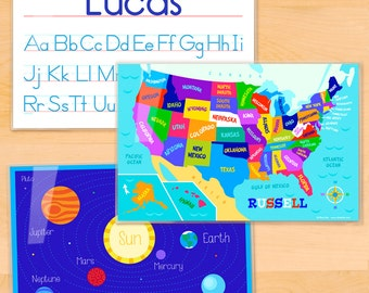 Olive Kids Personalized Educational Placemats, Laminated Placemat Set of 3, Alphabet Placemat, USA Map Placemat, Planets Placemat, Mealtime