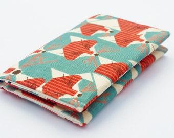 Fox Business Card Holder, Organic Canvas Card Case, Small Wallet, Jade