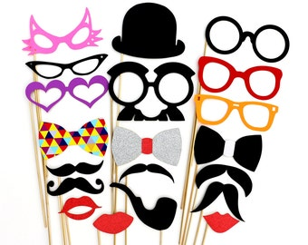 Wedding Photo Booth Party Props - 20 Piece Party Favor Photobooth Props Set - Birthday