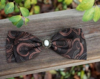 Chocolate Swirls Hair Clip with Pearl Cabochon - Handmade - Gift