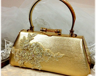 Wedding clutch,Golden Bridal clutch,pearl crystal clutch,  vintage inspired bridal evening bag, bridesmaid Golden clutch