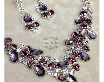 Wedding jewelry set ,bridesmaid jewelry set, Bridal necklace earrings, vintage inspired rhinestone jewelry, Purple crystal jewelry set