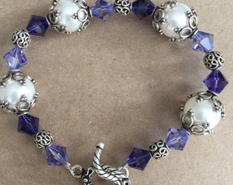 White Swarovski Pearls and Purple Crystals with Sterling Silver Beadcaps Bracelet