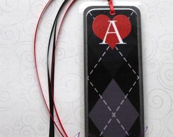 Handmade Laminated Durable Bookmark Black Argyle A