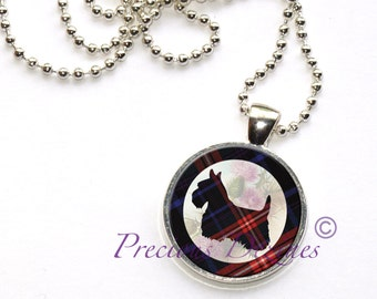 Tartan Scotty Dog Pendant Clan and Tartan jewelry blue and red tartan