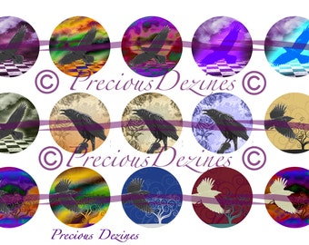 Raven collage sheet for making epoxy cabs, DIY jewelry, pendants, magnets, pinback buttons, etc, 4x6 digital download, bottle cap images
