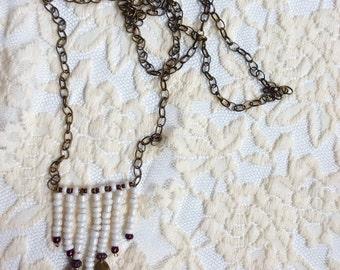 "The ""Bohemian Bride"" Brass Chain Beaded Pendant"