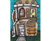 Original ACEO Tiny House, Inventor's Shed Art Card