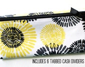Cash envelope wallet with 6 sturdy cash dividers for Dave Ramsey budget | black, white, gray, yellow laminated cotton