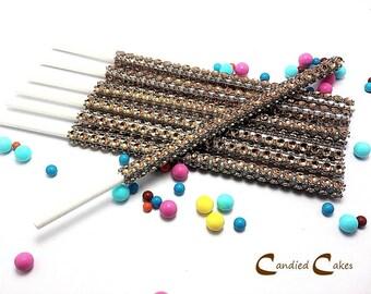 16 - BROWN Cake Pop Bling Sticks - Free US Shipping