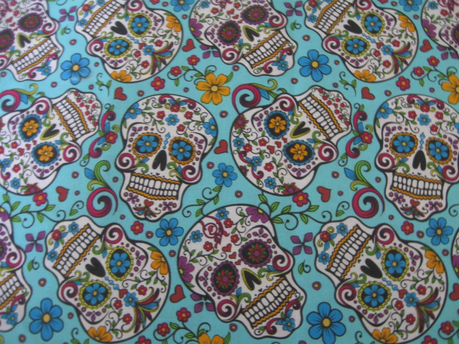 Sale sugar skulls teal fabric by the yard fabric piece for Cloth for sale by the yard