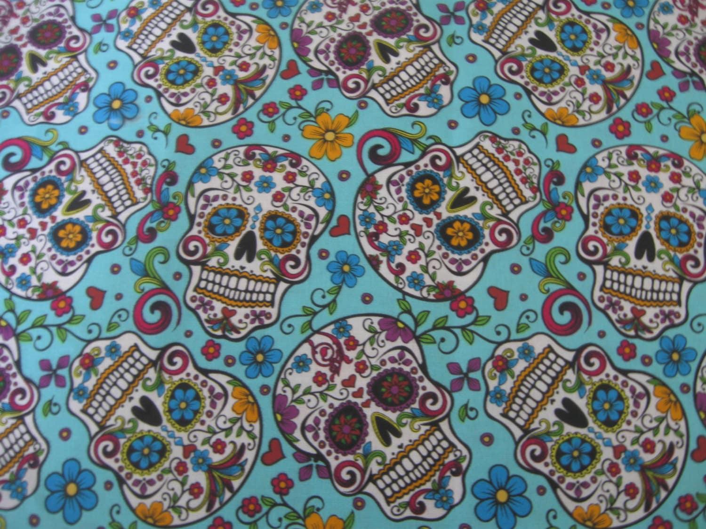 Sale sugar skulls teal fabric by the yard fabric piece for Fabric for sale by the yard