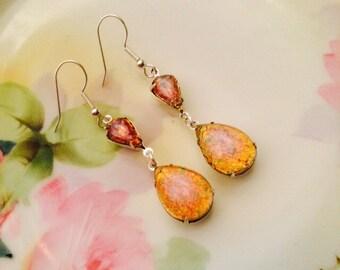 OPAL earrings  pink FIRE OPAL earrings bridal earrings wedding jewelry pink fire opal harlequin glass bridal accessories dangle earrings