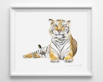 Tiger Art, Tiger Print, Wildlife animal, Africa animal, Nature Art, Home Decor, Nursery Art, Boy Nursery, Kid Wall Art, Jungle Art, Safari