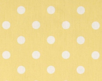"""Two  96"""" x 50""""  Custom Curtain  Panels - Lucy White/Yellow Polka Dots - Grommets Available"""
