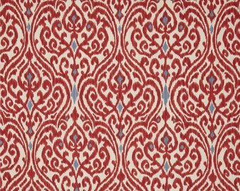 Two 20 x 20 Custom Pillow Covers   -   Damask Red Blue Ivory