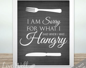 Hangry Print - Hangry Art - Kitchen Print - Kitchen Art - Dining Room Print - Dining Room Art - Funny Quote - Custom Color