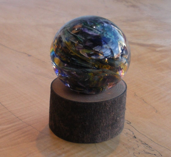 Large Glass Marble And Wood Stand By Jonathan Winfisky