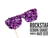 Photo Booth Props - Rockstar Sequin Glitter Sunglasses - PURPLE HAZE EDITION - Birthdays, Weddings, Parties - Photobooth Props