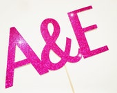 Custom Initials Glitter Prop - Wedding Photo Booth Props - You Choose Color