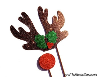 Christmas Photo Booth Props - 2 piece set - FULL GLITTER Photobooth Props - Rudolph the Red-Nose Reindeer