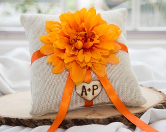 Custom Ring bearer pillow & matching ribbon You personalize with choice of flower