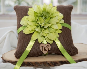 Green Flower Ring Bearer Pillow with matching ribbon from hand engraved wood heart with initials.