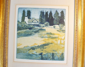 "Gail Packer - 4 plate Etching - Hand Etched and Printed  Art - ""El Molino Rancho"""