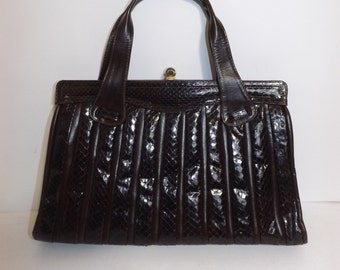 Vintage 60s large brown leather and real snakeskin handbag grab bag