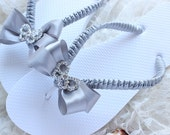 Silver wedding flip flops, Bridal flip flops decorated w/ rhinestone butterfly. Maid of honor gift, beach wedding. Bridesmaids colors