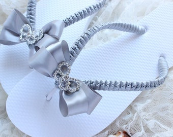 Silver wedding flip flops, Bridal flip flops decorated with silver/gray sartin ribbon & rhinestone butterfly Bridal shoes By Adriana Santos
