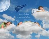 DIY Personalized Santa Sleigh Sleeping Clouds Christmas Card
