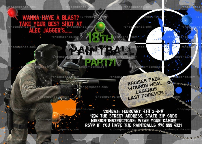 paintball invitation  etsy, Birthday invitations