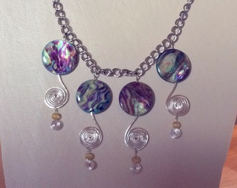 Statement necklace/ Colorful Abalone shell and spiral statement necklace