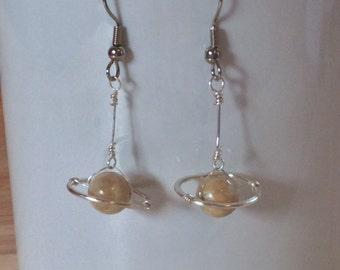 Saturn earrings/ planet earrings/ Sand beige jasper bead saturn with silver halo earrings