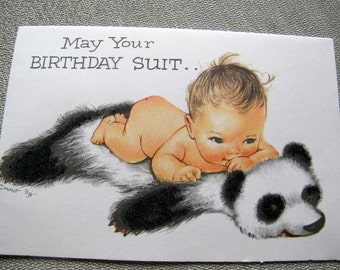Charlot Byj Birthday Suit birthday card / baby and panda bear birthday card / 1940's small talk get well card