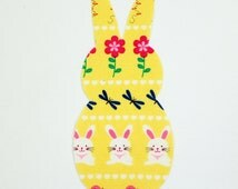 Easter Bunny Iron On Applique for Onesie, T-shirt, Bib, Burp Cloth, Bag, Place Mat, Etc.