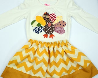 Thanksgiving Chevron Skirt and Turkey Shirt Set, Thanksgiving Girls Outfit, Skirt and Shirt set