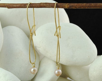 Pearl Dangle / Hook Earrings - Gold Plated Sterling Silver - FREE Shipping