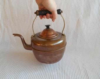 Copper Kettle Teapot Coffepot Cottage Chic 2 Ltr Pot Stovepot Industrial