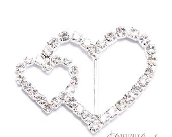 10pcs Rhinestone Buckles, Wholesale Diamante Rhinestone Heart Slider Buckles Perfect for DIY Wedding Invitations and Crafts, Buckle 107-S