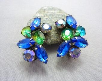Rhinestone Earrings Vintage Kramer Glass Rhinestone Clip on Earrings