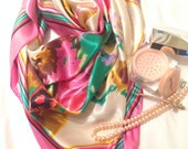 Pink and White Floral Print Scarf
