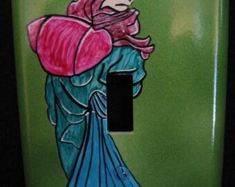 Switch plate hand painted decorative art piece Asian kimono wall decor